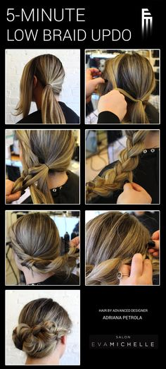Another great tutorial from Advanced Designer Adriana: a simple, elegant low braid updo.  1. Gather hair into a low side ponytail, separating a small section in the front. 2. Begin with the top of each section and braid as you would a French braid. 3. Continue braiding with pieces of the ponytail all the way to the ends. 4. Pull the braid apart at the edges to loosen, starting at the bottom. 5. Twist the braid as you bring it over to the other side. 6. Secure the braid with bobby pins.