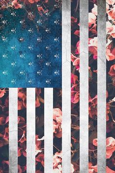 Floral Flowers american flag w/ skulls cute design from tumblr