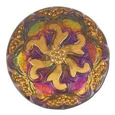 27mm Middle Flower Czech Glass Button