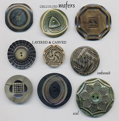 Carved Wafer Celluloid Buttons by YaddaYaYa, via Flickr
