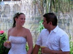 Married couple at reception