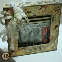 Denise Hahn made this beautiful A Ladies' Diary altered box as a gift box for her beautiful A Ladies' Diary apron! Click the photo to see more details. Amazing! #graphic45 #G45fabric