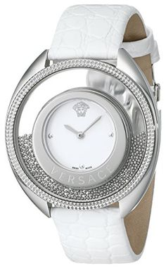Women's Wrist Watches - Versace Womens 86Q99D002 S001 Destiny Spirit Stainless Steel MicroSpheres Watch with White Leather Band * You can find out more details at the link of the image. (This is an Amazon affiliate link)