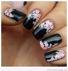 Black nails with rose flowers