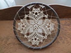 Vintage Crocheted Cotton Doily Laced in Hoop, Hoop Art, Doily