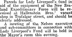 Parcels for Lady Liverpools Fund can be received at Hallentein Bros. Investigations, Liverpool, Connection, Lady