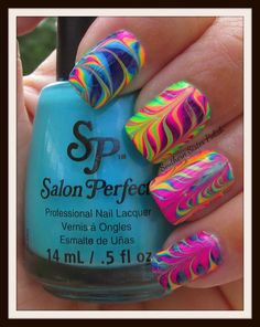 Nail Art Design Ideas to Give You Amazing Fall This Year Southern Sister Polish: Water Marble . >> This is soooooooo fun! did this the other day, and it turned out beautifully! Neon Nail Art, Neon Nails, Diy Nails, Bright Nail Art, Colorful Nails, Rainbow Nails, Fancy Nails, Cute Nails, Pretty Nails