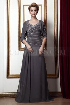2012 New Style Beading A-Line V-Neck Floor-Length Alinas Mother of the Bride Dress