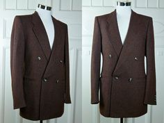 Wool Boucle Blazer, Burgundy Gray Double-Breasted Jacket, Size 38 Long, 1980s German Vintage Near Mint Sports Coat: Size 38L US/UK by YouLookAmazing on Etsy