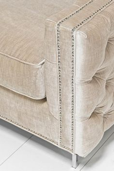 James Inside Out Sofa in Brussels Pearl Velvet Living Room Modern, Living Room Sofa, Living Room Designs, Couch Furniture, Home Decor Furniture, Lounge Design, Sofa Design, Genuine Leather Couches, Tufted Sofa