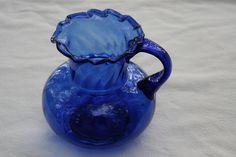 Antique Colbalt Blue Blown pitcher. via Etsy.