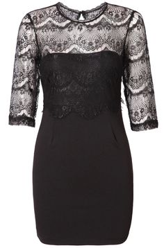 Black Round Neck Perspective Lace Bodycon Dress 34.00