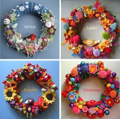Seasonal crochet wreaths Attic24