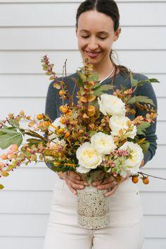 A Rustic Garden Rose Arrangement by Yasmine Mei