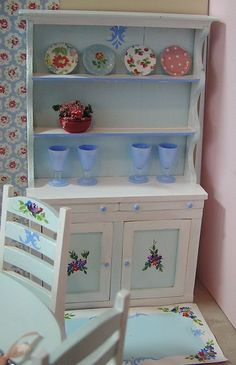 Miniature Dollhouse Furniture- Hutch-Hand Painted signed by Artist 1 in