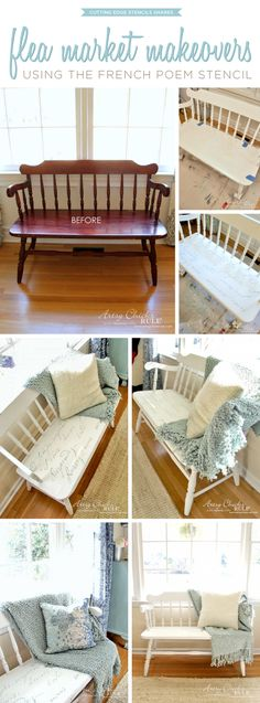 A DIY stenciled bench makeover using the French Poem Stencil from Cutting Edge… Diy Furniture Projects, Furniture Making, Furniture Makeover, Home Projects, Home Crafts, Stencil Decor, Stencils, French Poems, Painted Furniture