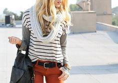 lovin everything about this outfit....especially the rust colored pants