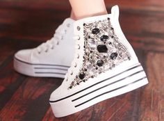 Luxury diamond sticking winter sneakers boots shoes Z-XZKJ white Winter Sneakers, High Top Sneakers, Converse Chuck Taylor High, Converse High, Canvas Sneakers, Sneaker Boots, Chuck Taylors High Top, Shoe Boots, Shoes