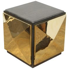 Paul Marra Brass Tile Side Table | From a unique collection of antique and modern side tables at https://www.1stdibs.com/furniture/tables/side-tables/