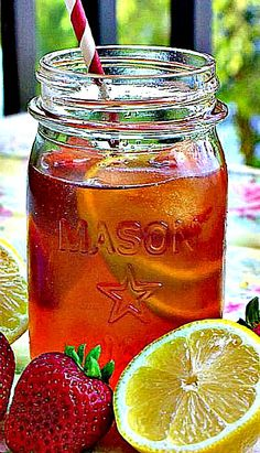Strawberry Lemonade Iced Tea- Lemonade and sweet tea…. with a couple strawberries mixed in