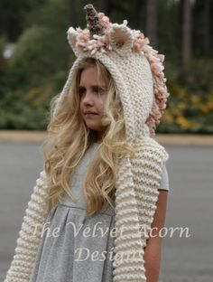 Baby Knitting Patterns Scarf PATTERN-The Unice Unicorn hooded scarf knit by Thevelvetacorn Crochet Kids Scarf, Crochet Winter Hats, Knitted Hats Kids, Kids Hats, Crochet For Kids, Knit Crochet, Crochet Hats, Baby Knitting Patterns, Unicorn Knitting Pattern