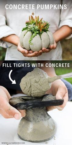Here's how you can make easy concrete pumpkin by fill up tights. Takes about 20 minutes to make. The concrete succulent pumpkin planters are so easy to make! Fill tights with concrete and attach rubberbands! Thank plant a succulent inside! Concrete Crafts, Concrete Art, Concrete Garden, Cement Art, Diy Cement Planters, Cement Flower Pots, Wall Planters, Concrete Kitchen, Concrete Furniture
