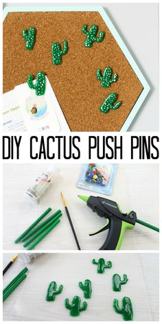 Make these decorative push pins with hot glue! A fun cactus shape that you can add to any cork board! A quick and easy project that anyone can make! hot glue gun crafts Decorative Push Pins Made from Hot Glue Cork Board Projects, Diy Cork Board, Easy Projects, Project Ideas, Cork Boards, Cork Board Ideas For Bedroom, Teen Projects, Diy Projects Fun, Diy Glue