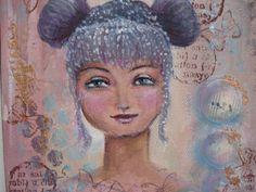 Original Mixed Media Fantasy Girl Painting By Sujati Art Studio by VividSpirit on Etsy
