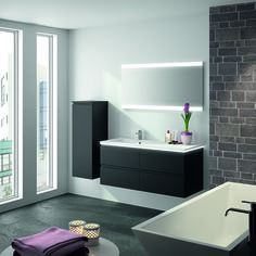 meuble de salle de bains gloss pour une atmosphre agrable lclairage avec - Miroir Salle De Bain Lumiere Integree