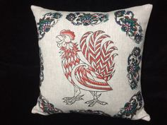 This 100% irish linen pillow cover has been hand block printed using celtic animal design - the rooster - in black , red , blue and green with fabric inks- an environmentally friendly product!  The pillow cover fabric is beautiful heavy weight irish linen (480grams per metre).  The wooden blocks us