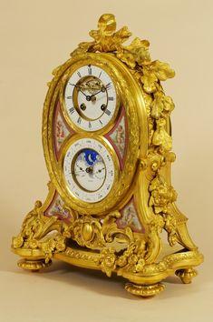 French Porcelain Mounted Ormolu Calendar Mantel Clock by Jean B Delettrez