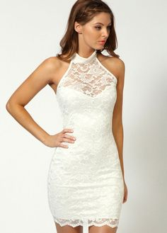 wholesale Women Club White Lace Sleeveless Open Back Dress