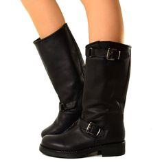 Stivali Donna Biker Boots in Vera Pelle Nera Made in Italy 40. Stivali Da  MotociclistaStivali Neri fce7d210369