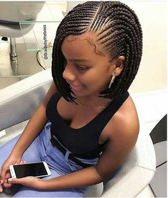10 Bob Braids Hairstyles 2019 Bob Braids Hairstyles Newhair Bob Box Braids Bob Braids Box Braids Styling Braided Hairstyles 23 Trendy Bob Braids For African Ame Natural Hair Braids, Braids For Black Hair, Cornrows Braids For Black Women, Cornrows For Girls, Braids With Beads, Bob Styles, Short Hair Styles, Bob Box Braids Styles, Braids Bob Style
