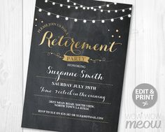 Elegant birthday dinner party invite instant download cocktail edit retirement invitation gold black chalk retired by wowwowmeow stopboris