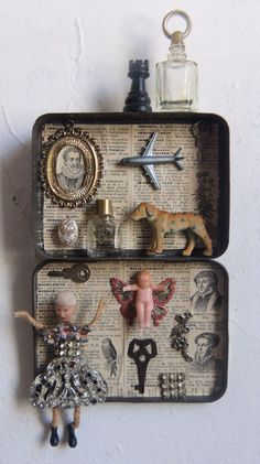 Assemblage Art - High Quality - Vintage Recycled 3D Found Objects -Lets Fly -1087