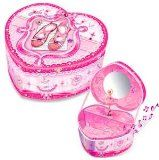 """Pecoware / Heart-shaped Musical Jewelry Box, Little Dancer - Pecoware / Heart-shaped Musical Jewelry Box, Little Dancer    Plays music.Dancer twirls.Pink, heart-shaped box-intricately decorated.Measures approx. 6 x 3 x 5"""".  The heart-shaped musical j"""