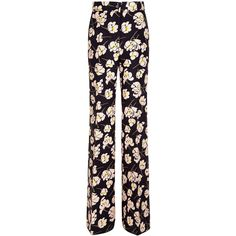 Rochas Black Magnolia Print Flares (£595) ❤ liked on Polyvore featuring pants, zip pants, floral print pants, flared trousers, zipper trousers and floral trousers