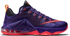 Nike LeBron 12 Low Court Purple Basketball Shoes For Men, Nike Basketball, Sports Shoes, Nike Lebron, Women's Sneakers, All Black Sneakers, Baskets, Sneaker Release, Purple Shoes