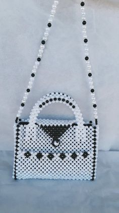 A handmade women handbag made with pearl beads, pearl clutch, a handmade pearl bag Tote Bags Handmade, Leather Bags Handmade, Beaded Purses, Beaded Bags, Handbag Tutorial, Beaded Crafts, Diy Purse, Handmade Beads, Etsy Handmade