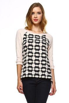 a7fd023feaae79 Women s Knit to Woven Printed Sweater Top – Glitter Saturday Womens Knit  Sweater