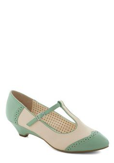 Care to Dance? Wedge in Mint. When your nights plans involve cutting a rug with your date, put on your dancing shoes by slipping into these Oxford wedges by Bait Footwear! #mint #modcloth