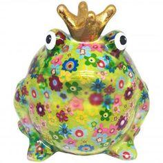 Pomme Pidou Spardose FROSCHKÖNIG FREDDY grün mit Blumen #pommepidou #spardose #sparfigur #keramiksparfigur #froschkönig #freddy #froschspardose