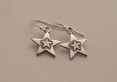 Sterling silver, fine silver and 9ct gold star earrings by Jill Endicott Jewellery
