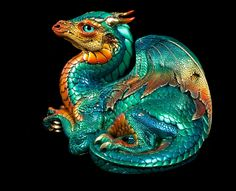 "Windstone Editions ""Jungle Flame "" Old Warrior Dragon Fantasy Animal Statue…"