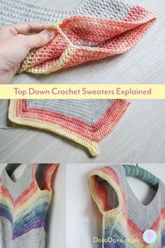 Top-down crochet sweaters explained Top-down crochet sweaters explained,Crochet Ideen Would you like to make more crochet clothes such as sweaters, cardigans and dresses but get put off or confused by terminology and not knowing. Crochet Tunic, Crochet Jacket, Cute Crochet, Crochet Clothes, Crochet Sweaters, Crochet Tops, Crochet Designs, Crochet Patterns, Top Down