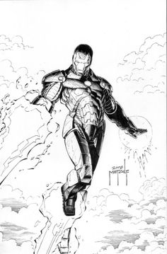 Another recent commission piece, loosely based on a JRJR Iron Man cover back in or - changed the pose a bit, added my suit design and . Iron Man - Fire Away Black And White Comics, Black White Art, Friends Sketch, Man Sketch, Iron Man Tony Stark, Marvel Comics Art, Comic Art, Comic Books, Avengers