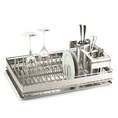 Best of Basics Dish Rack in Stainless Steel with a rack underneath- this is the best I've ever used   Frontgate.com