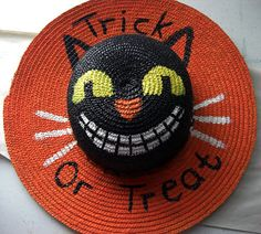 Halloween Door Decoration painted Cat Hat