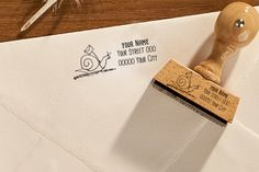 "Return address stamp, ""Snail"", custom name stamp, personalised address stamp, wooden stamp, rubber stamp, 329 by Exlibrisshop on Etsy"